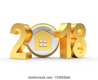 Real estate concept. 2018 New Year golden numbers and house icon on white background. 3D illustration