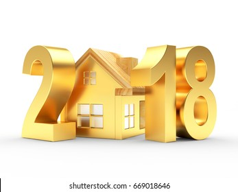 Real estate concept. Golden 2018 and house icon isolated on a white background. 3D illustration