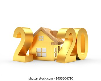 Real estate concept. Golden 2020 New Year and house icon isolated on a white background. 3D illustration