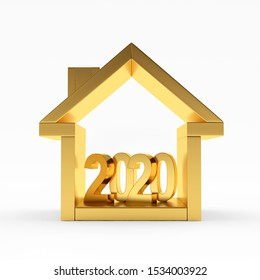 Real estate concept. Golden house icon with number 2020 inside. 3D illustration