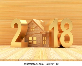 Real estate concept. Golden numbers 2018 New Year and wooden house icon on wooden background. 3D illustration