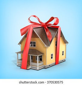 Real estate concept. House architectural model with red bow on a blue background. Concept of gift.