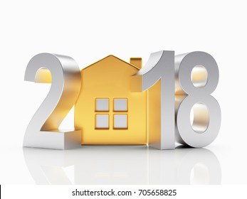 Real estate concept. Silver 2018 New Year and golden house isolated on white background. 3D illustration