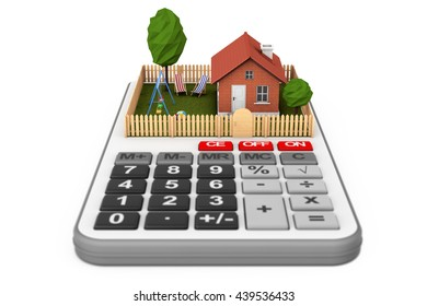 Real Estate Concept. Small House with Fence and Garden over Calculator on a white background. 3d Rendering