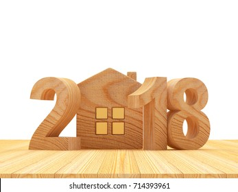Real estate concept. Wooden numbers 2018 New Year and house icon on wooden background. 3D illustration