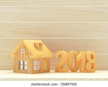 Real estate concept. Wooden numbers 2018 New Year and house icon on wooden background with space for text. 3D illustration