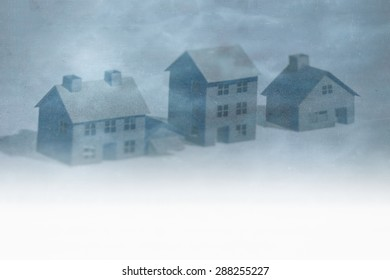 Real estate conceptual image with blurred 3d house models on grunge paper. Space for text