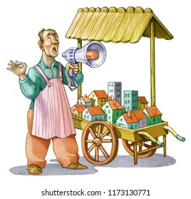 real estate and home sale funny illustration humorous cartoon economy concept market seller