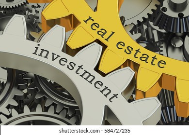 real estate investment concept on the gearwheels, 3D rendering