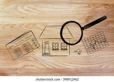 real estate investments and house hunting: magnifying glass analyzing a house, with sector newspaper, stats and keys