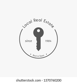 Real estate logo template with key symbol. Design for agency, house and apartment rental