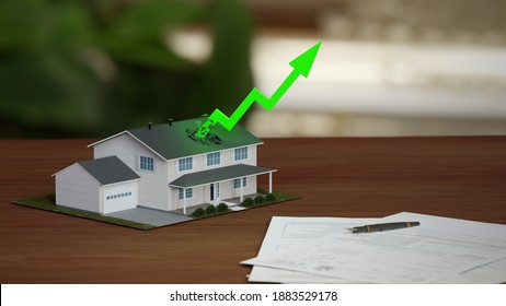 Real estate market boom, soaring prices. Fancy suburban house with rising green arrow. Digital 3D render.