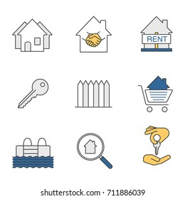 Real estate market color icons set. Neighborhood, house for rent, key, fence, swimming pool, real estate deal, homebuyer, shopping cart with house inside. Isolated raster illustrations