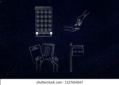 real estate market conceptual illustration: apartment building next to key exchange and with rent contract next to for rent panel