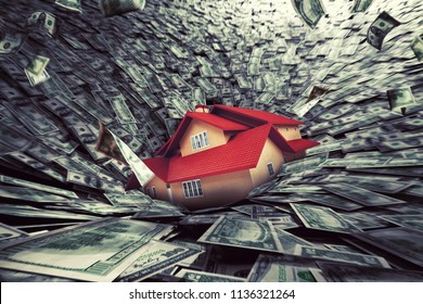 Real estate market crisis with a house sucked into debt. 3D Rendering