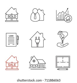 Real estate market linear icons set. Sold house, broker, loan agreement, cottage, floor plan, house for sale, chart, homebuyer. Thin line contour symbols. Isolated raster outline illustrations
