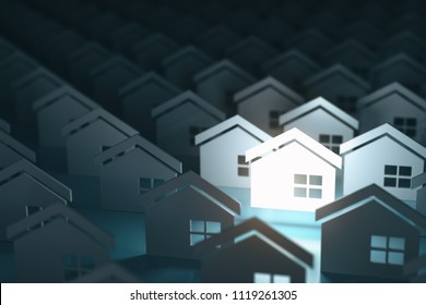 Real estate property industry concept background. Unique lighting house sign in group of  houses. 3d illustration