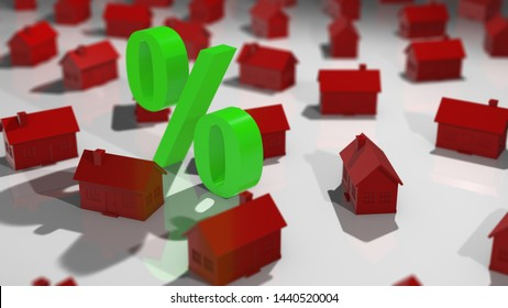 Real estate property market interest rate of investment yield of loan - 3D illustration rendering