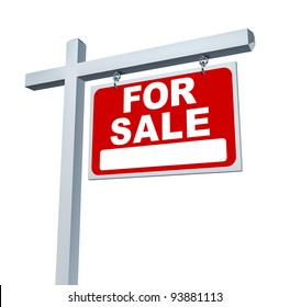 Real estate red for sale sign with blank area as a communication billboard marketing the sale of a home through advertising with an agent and negotiating a good mortgage interest rate.