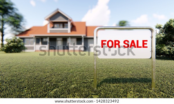 Real estate sign for sale and house in background 3D rendering