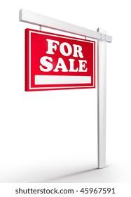 Real Estate Sign - For sale on white background. 2D artwork. Computer Design.