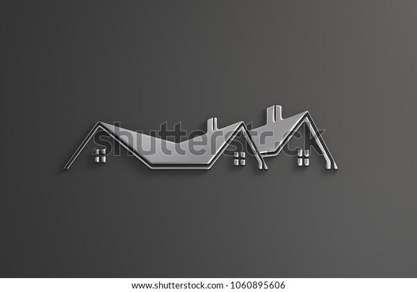 Real Estate Silver Logo Design. 3D Rendering Illustration