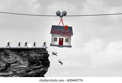 Real estate trap and housing danger or the risk of owning a home concept as people being lead off a cliff by a house or residential debt or renovation money pit with 3D illustration elements.