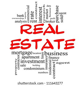 Real Estate Word Cloud Concept in red & black with great terms such as broker, investment, location, market and more.