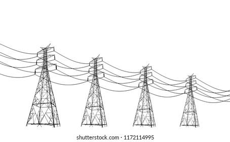Real high voltage pole.isolated on white background.Lined up Vector high voltage pylons on white background in isometric perspective. 3d metal pole voltage, isolated background. Industrial illustratio