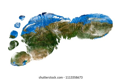 Real imprint of child foot with a world map of Russia - isolated on white background