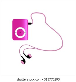 Real pink mp3 player with headphones isolated on white background. illustration