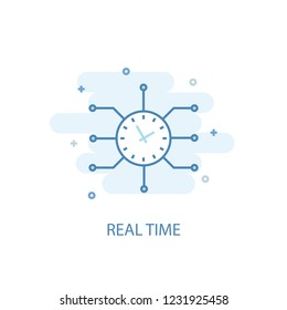 Real time concept trendy icon. Simple line, colored illustration. Real time concept symbol flat design from Augmented reality set. Can be used for UI/UX