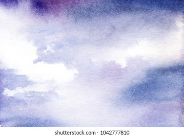 real Watercolor background with gradient of blue and lilac color imitating the sky with white clouds. texture of paper. Hand-drawn