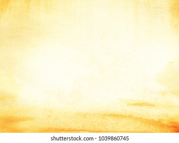 The real watercolor background. Yellow sand and yellow sky. Allegoric desert, Sandy sea, dust storm. Hand Drawn Watercolor on wet paper