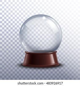 Realisitc 3d snow globe toy isolated on transparent background  illustration