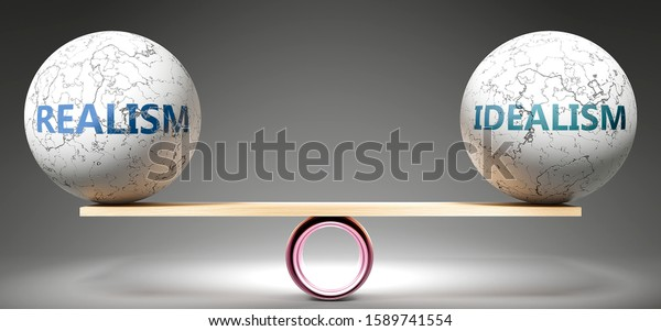 Realism and idealism in balance - pictured as balanced balls on scale that symbolize harmony and equity between Realism and idealism that is good and beneficial., 3d illustration