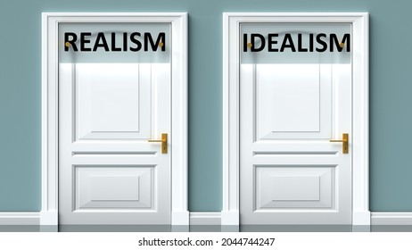 Realism and idealism as a choice - pictured as words Realism, idealism on doors to show that Realism and idealism are opposite options while making decision, 3d illustration