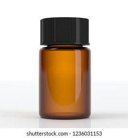 realistic 3d beauty oil brown bottle without label mockup 3d rendering