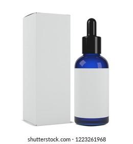 realistic 3d blue cosmetics bottle mockup 3d rendering