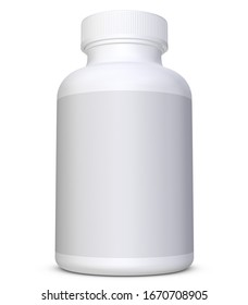 Realistic 3D Bottle Mock Up on White Background.3D Rendering