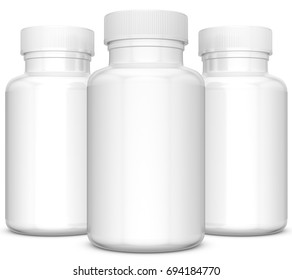 Realistic 3D bottle mock-up on white background.3D Rendering