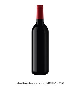 Realistic 3d of bottle with red wine on a white background. 3d realistic isolated wine bottle without labels for your design and logo