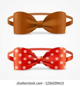 Realistic 3d Bow Tie Set Brown and with Droplets Accessory Of Hipsters, Dandy, Geek Man. illustration of Element Cloth Hipster