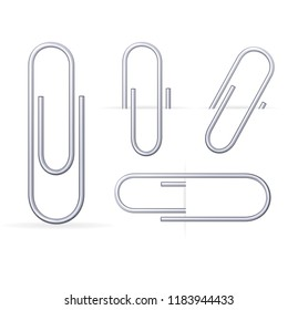 Realistic 3d Clip Metal Paper Office Accessory Set Organization Equipment Symbol Isolated on White Background. illustration of four different clips