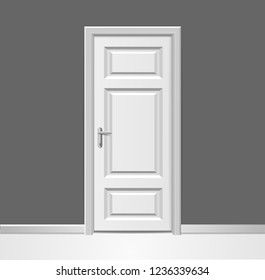 Realistic 3d Closed Modern White Wooden Door with Frame to Grey Wall Interior Design Concept. illustration of Doorway