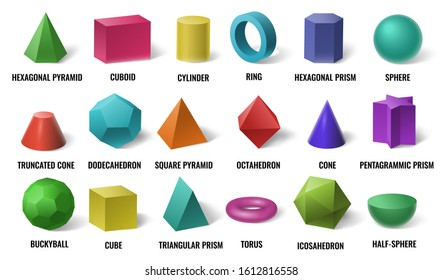 Realistic 3D color basic shapes. Solid colored geometric forms, cylinder and colorful cube shape. Maths geometrical figure form, realistic shapes model. Isolated  illustration icons set