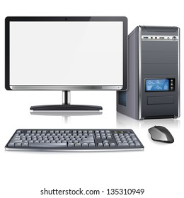 Realistic 3D Computer Case with Monitor, Keyboard and Mouse, isolated on white background, illustration