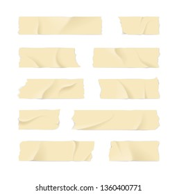 Realistic 3d Detailed Adhesive or Masking Tape Set Torn Pieces for Fixing Notes. illustration of Sticky Ripped Tapes