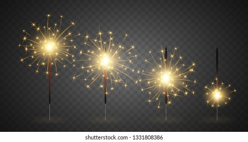 Realistic 3d Detailed Bengal Light Set on a Dark Background Symbol of Celebration, Party or Festival. illustration of Bright Sparklers
