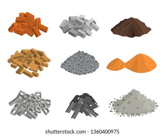 Realistic 3d Detailed Building Materials Set Include of Brick, Cement, Sand, Stone Gravel and Metal. illustration